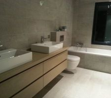 Salle de bain des enfant terminée, enfin presque. Il reste le support du pommeau de douche à installé.