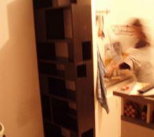 pour ranger un imprimante en bas deux bouteilles sur le cote des livres de cuisines en haut des livres et des cd ailleurs au fond pour pouvoir mettre des casses tetes devant