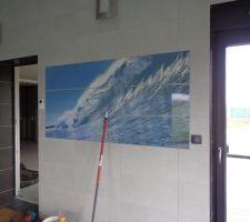"""Le décor """"vague"""" de la piscine. 01 2014"""