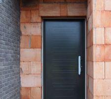 Porte d'entrée pvc alu, ouverture d'environ 1 m, ral 7022