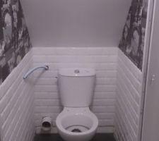 WC à l'étage presque fini il reste à redescendre l'arrivée d'eau et brancher le tout