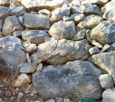 fissure sur bloc de roche de l'enrochement