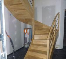Escalier en hévéa Menuiserie des Abers