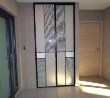 placard coulissant sogal modele 4 partitions pose pour le dressing invites du hall d entree