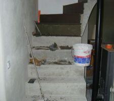 beton cire en cours sur notre escalier
