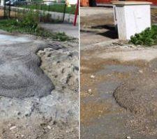 Coulées de béton sur le terrain