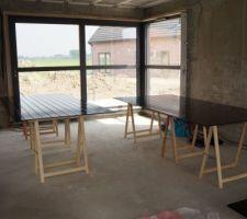 Atelier peinture des sous faces de la toiture