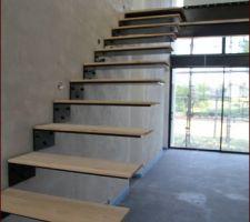 L'escalier avec les marches en bois
