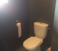 Réalisation des peintures et papier peint des toilettes du Rdc.